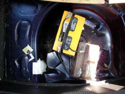 Marine batteries in spare tire well